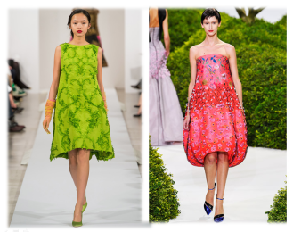 Same volume for Dior couture spring 2013 and Oscar de la Renta fall 2013