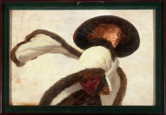 Anonyme Femme à l'écharpe Huile sur bois 1900.