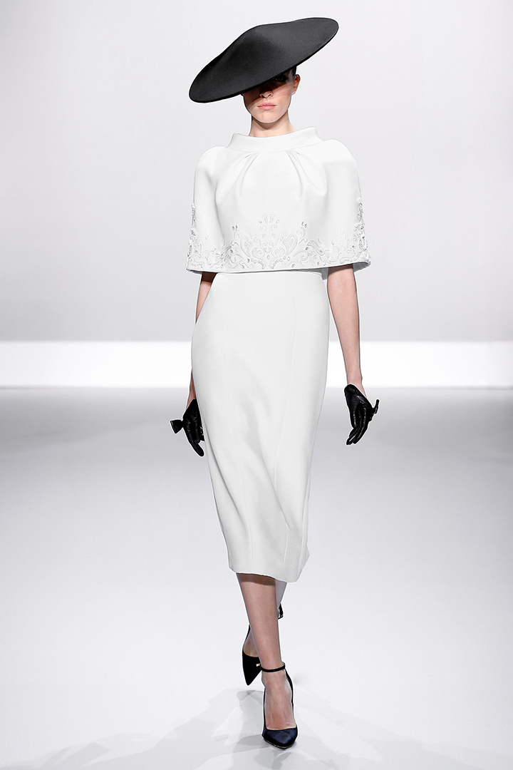 White silk crepe embellished pencil gown with cape
