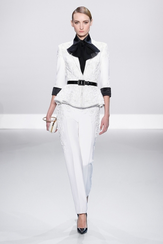White silk crepe embellished suit with black cuffs White matte alligator evening bag with rose gold trim and crystal clasp