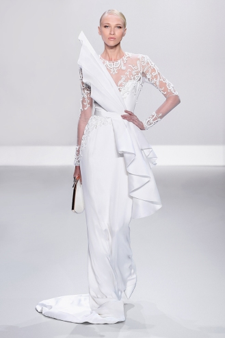 White silk crepe pencil gown with embellished tulle and structured silk gazar drape