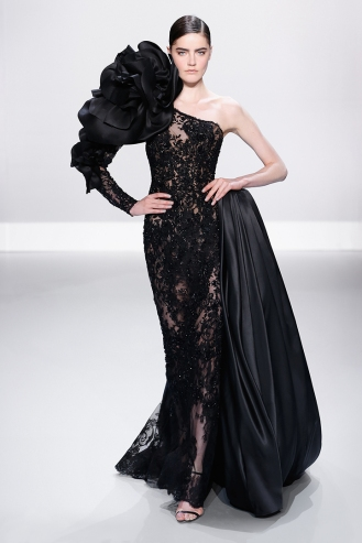 Black embellished French Chantilly lace one shoulder gown with silk gazar flower