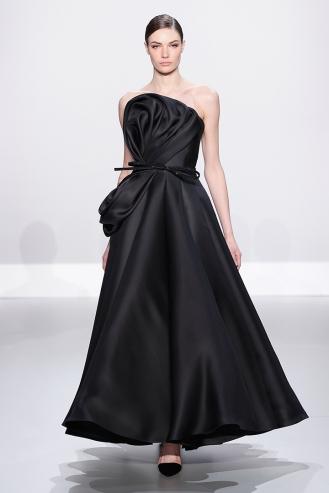 Black silk gazar ballgown with gazar drape and crystal belt