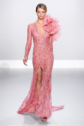 Salmon French Chantilly lace embellished gown with organza and lace flower
