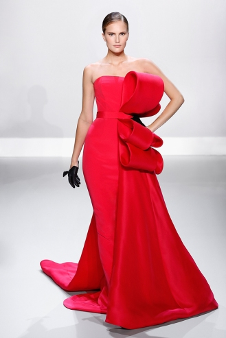 Raspberry red silk crepe pencil gown with silk gazar bow and bustle