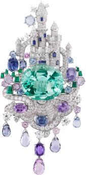 White gold, round, baguette-cut and half-moon cut diamonds, baguette-cut emeralds, oval-cut and briolette-cut pink and purple sapphires, round and baguette-cut sapphires, one oval-cut emerald of 39.85 carats (origin: Brazil).