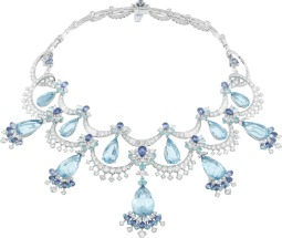 White gold, round, baguette-cut and marquise-cut diamonds, round tourmalines, pear-shaped sapphires, 12 pear-shaped aquamarines for a total of 129.87 carats.