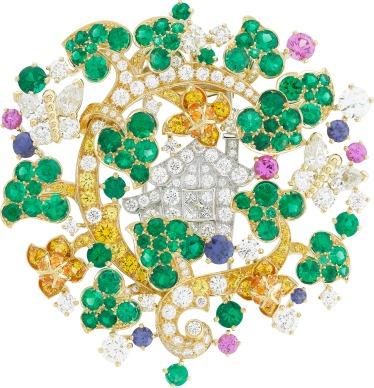 White gold, yellow gold, round, pear-shaped and princess-cut diamonds, yellow diamonds, pink and purple sapphires, emeralds.