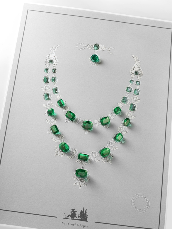 White gold, round, square-cut, baguette-cut, half-moon cut and pear-shaped diamonds, platinum, 29 round, oval-cut and emerald-cut emeralds for a total of 195.11 carats (origin: Colombia).