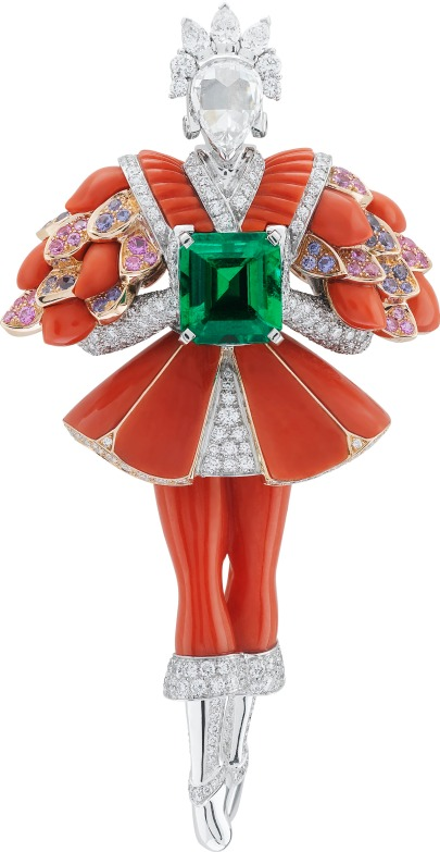 White gold, pink gold, pink and purple sapphires, red coral, round, pear-shaped and rose-cut diamonds, one emerald-cut emerald of 2.25 carats (origin: Brazil).