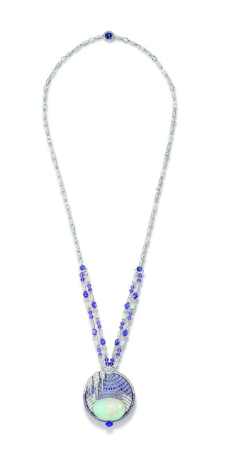 Necklace in white gold, set with oval-cut and brilliant-cut diamonds, beads faceted of diamonds and amethysts, round violet sapphires, opal motifs from Ethiopia, ten oval-cut violet sapphires from Ceylon and Madagascar for 11.74 carats, an oval-cut violet sapphire from Madagascar of 1.51 carat, an oval-cut violet sapphire from Ceylon of 2.12 carats and a cabochon-cut white opal from Ethiopia of 59.58 carats.
