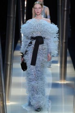 Look 54: Such a fluffy dress! And the genius of Monsieur Armani is to make the woman feel comfortable and feminine which is not always the case for feathers and dresses. Now she looks like more of baby bird than of a bear.