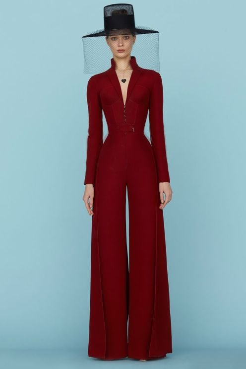 This look from Ulyana Sergeenko's private presentation at Le Bristol in Paris is all about who she is as a designer and how she imagines her woman. Super classic and very original. This jumpsuit could definitely be worn for businesswomen who travel all over the world.