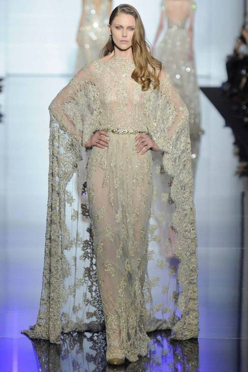 Look 45: Zuhair Murad again… I never get tired of these talented Lebanese designers who work in the real tradition of Parisian haute couture. All of these tiny little beads and pearls are sewed with passion in Beyrouth by people who've worked their whole life in a studio. Admirable.